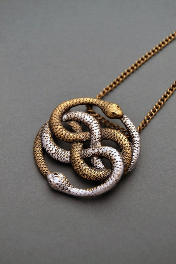 Auryn necklace Infinite snake necklace Snake jewelry Snake knot necklace Ouroboros necklace Auryn pendant Neverending Story gift