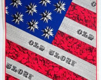 Vintage Original Tiber Press Silkscreen Print Poster Old Glory American Flag 1960's Americana Patriotic