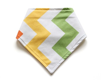 SALE || Adjustable Bandana Bib || Large Zig Zag Yellow & Green