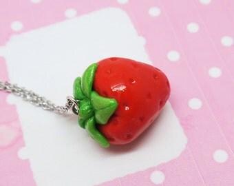 Strawberry Necklace - Fruit Jewelry - Fruit necklace - Miniature Food Jewelry