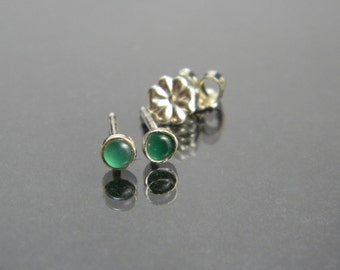 Green Onyx Studs, Green Stud Earrings, Green Chalcedony, Small Silver Studs, Sterling Silver, 3 mm studs