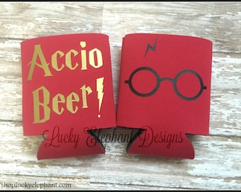 Accio Beer Can Cooler - Geekery Beer Coolie - Personalized Can Cooler  - Harry Potter - Harry Potter Glasses  - 13 Colors Available!