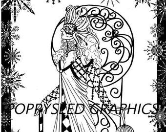 Snow Queen Digital Stamp by Leanne Seed