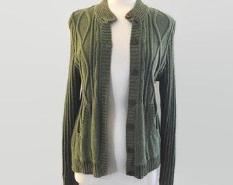 Kurt Cobain Inspired Sweater, Vintage Sweater, 90s Sweater, Cardian Sweater, Green Sweater, Pullover Sweater, Grunge Sweater, Women's Large