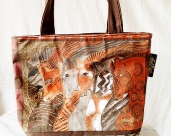 Vintage Laurel Burch Fabric Horse Small Tote or Lunch Box
