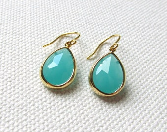 Gold and Turquoise Teardrop Modern Minimalist Earrings Blue Bridal Jewelry Wedding Gift For Her Anniversary