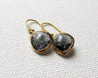 Charcoal Gray Dangle Earrings Gold Dainty Earrings Gray Drop Earrings Minimalist Modern Bridal