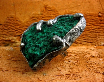 Raw Stone Ring • GIANT Green Raw Malachite Ring by AMW •  Adjustable WIDE Band Ring •• free shipping