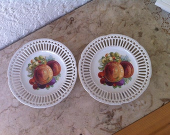Vintage Porcelain, Vintage China, Vintage Dessert Plates, Vintage Fruit Plates, Made in Italy, Grapes & Peaches, by Delovelyness on Etsy.