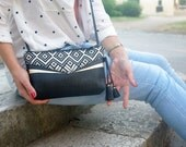 Handbag in black plaited leather gold leather and boho fabric { boho style woman little bag summer bag }