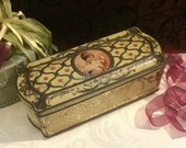 Beautiful French Biscuit Tin, Biscuits Pernot, Antique Tin Box, Art Nouveau Lady, c 1915, Vintage Vanity, Antique Kitchen