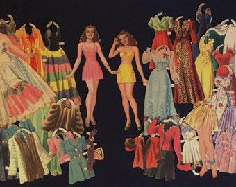 Rita Hayworth 1940s Paper Dolls, Movie Star, Evening Dresses, Vintage Paper Dolls, World War II Era, 1940s Fashions, Actress