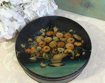 1920s Tindeco Vintage Tin Box, Antique Tin Box, Flowers in Vase, Romantic Décor, Decorative Tin, Floral Flowers, Art Deco, Vintage Candy Tin