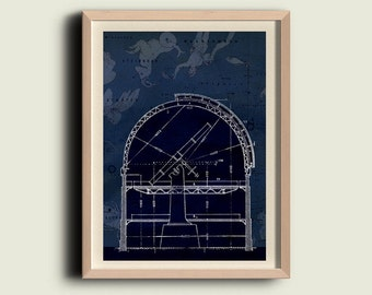 Observatory Print. Astronomy Poster . Meteorology. Astronomical,  Constellations Nothern Hemisphere, Bluprint, Technical drawing, wall art