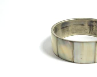 chunky shell bracelet- shell on brass bracelet