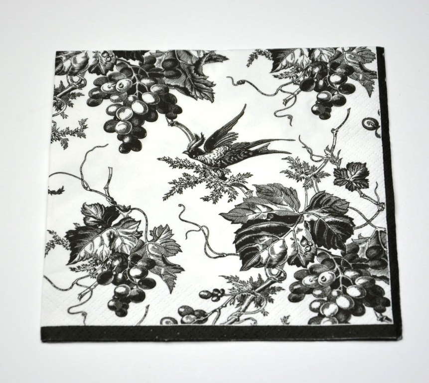 Black White Toile Decoupage Paper Napkins Bird Paper Napkins