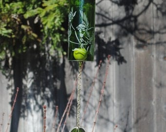 Bird Flowers Wine Bottle Windchime - Repurposed Outdoor Dad Father Personalized Cabin Garden Wine Birding Musical Celibration of Life Nature