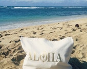 Large Gold Aloha Tote / Big Tote Bag / 100% Recycled Cotton / Made in USA / Seahorse / Reusable Bag / Eco Friendly / Hawaii / Women's Gift