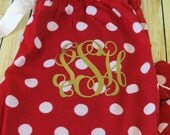 WOMEN & YOUTH Monogram Red with White Polka Dot flannel pajama bottoms - Perfect for Christmas