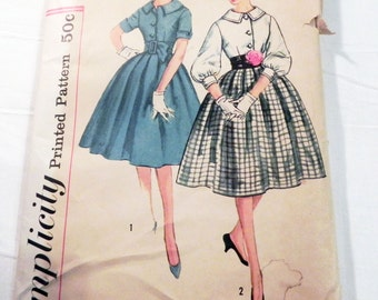 "1950s Rockabilly dress pleated skirt short sleeves Collar sewing pattern Size 14 Bust 34"" Simplicity 3071"