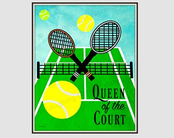 Girls Tennis Decor Girls Sports Athletic Decor Dorm Decor Queen Of The  Court Art Girl Quote