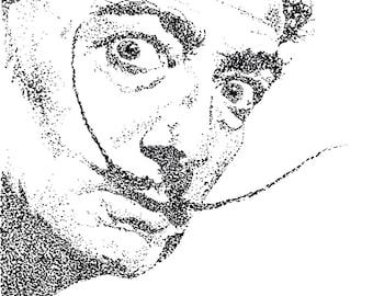 Salvador Dali Pointillism Sketch