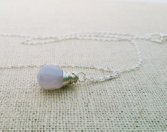 Blue Chalcedony Wire Wrapped Briolette - Sterling Silver Necklace - Teardrop Necklace - Silver Necklace - Gift for Her