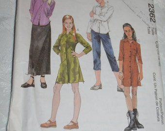 McCalls 2362  Girls Dress or Shirt Pull on Capris and Pull on Skirt Sewing Pattern - UNCUT - Sizes 12 14 16