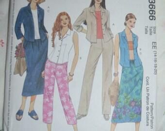 McCalls 3666  Misses -Miss Petite Shirt Pants Capri Pants and Skirt Sewing Pattern - UNCUT - Sizes 14 16 18 20