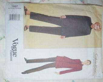 Vogue 1987 Calvin Klein  Misses / Misses Petite Jacket and Pants Sewing Pattern - UNCUT - Size 8 10 12