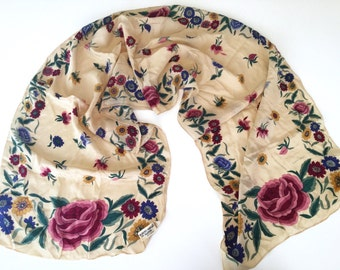 Vintage Albert Nipon Floral Scarf