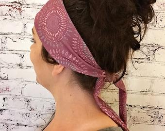 Tie-Back Headband - Boho Tribal Circles - Rosewood - Boho Headband - Yoga Headband - Eco Friendly