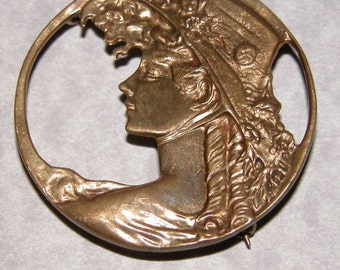 Vintage Art Nouveau Lady Metallic Brooch or can be worn as a Pendant