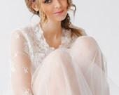 "Boudoir Bridal Tulle Peignoir ""Angel"", Lace Robe, Nightgown, Wedding Lingerie"