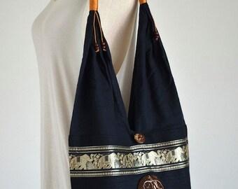 Black Elephant Embroidery Shoulder Bag Cotton Bag Hippie Bag Boho Bag Messenger Bag with A Coconut Shell Button