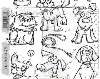 Stampers Anonymous Tim Holtz  Crazy Dogs  Stamp  Set CNS271