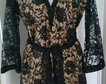 Black Lace Cocktail Dress Size Small Vintage Clothing Unique Evening Wear