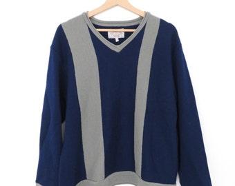 ARMANI JEANS Heavy Cotton V-neck Navy Blue and Grey Sweater Jumper, sz. L