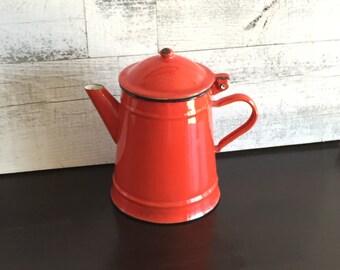 Vintage Red Enamel Coffee Pot - Chippy Red Enamel Pot - Coffee Pot