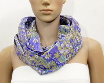 Blue Scarf Infinity Scarf Floral Scarf Fashion Scarves Scarf Shawl Cowl Scarf Tube Scarf Printed Scarf Summer Scarf Gift for her Handmade