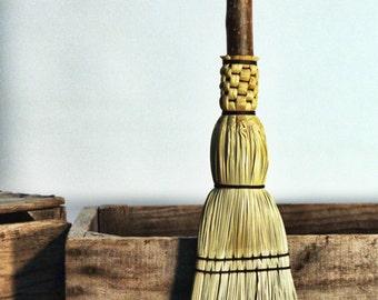 Pioneer Fireplace Broom - Natural Handle Hearth Besom - Flat Sewn Hand Broom