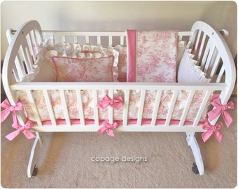 Pink Central Park Toile Baby Cradle Bedding Set -- Includes Cradle Bumper, Baby Blanket, Fitted Sheet, & Accent Pillow Made-To-Order