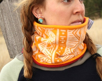 Chilla Fleece Block Printed Neck Warmer - Lined Neck Gaiter Winter Skiwear