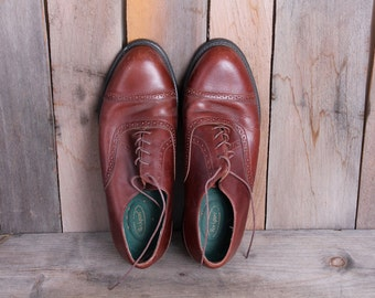 1980s Era Rockport Brand Mens Preppy Leather Oxfords Size 11