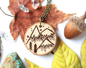 Wood Slice Necklace, Mountain Necklace, Wood Pendant, Woodburned Necklace, Mountain Necklace, Wood Necklace, Mountain Jewelry