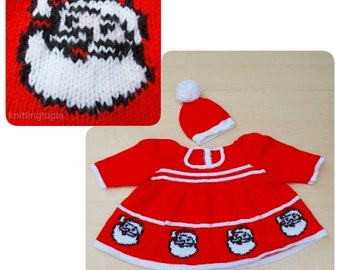 Baby girl Santa father christmas dress and hat 0 - 3 months handmade knitted baby girl clothes Christmas gift