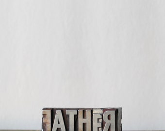 Now on sale FATHER vintage metal letterpress letters. Gifts for dads, artists, printmakers, men, fathers, home decor. MEDIUM vintage destash