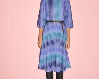 Vintage 70s Blue Purple Striped Gradient Lavender Puff 3/4 Sleeve Midi Dress