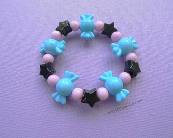 Blue Candy Bracelet -Kawaii- Gothic- Pastel Goth- Gothic Lolita- Sweet Lolita-JFashion- Harajuku- Fairy Kei- Creepy Cute