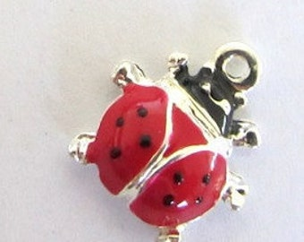 5 Pieces Enamel Red and Black Ladybug Pendant Charms